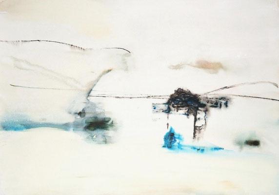 """No.1 行為と時間"" 2012  water color gouache on paper 54,5×78,8cm"