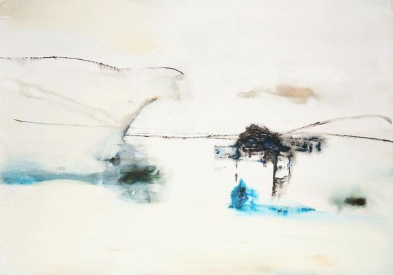"""No.1 行為と時間"" 2012  Watercolor gouache on paper 54,5×78,8cm"