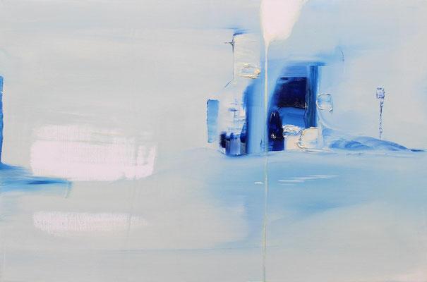 """No.61 媒体の引力"" 2014 oil on wood panel  53×80,3cm"