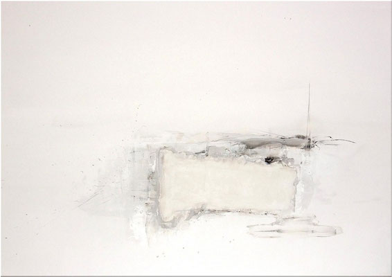 """No.30 行為と時間"" 2012 Watercolor  gouache on paper mounted on wood panel 72,8×103cm"