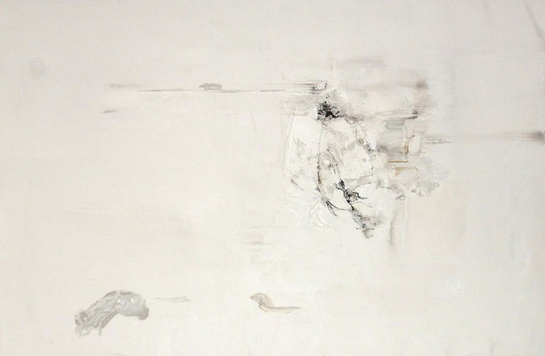 """No.22 行為と時間"" 2012 Watercolor  gouache on paper mounted on wood panel 53×80,3cm"