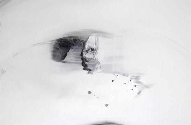 """""""No.48 物質と第三者-間合い"""" 2013 acryic gouache  gesso on canvas 65.2×100cm"""