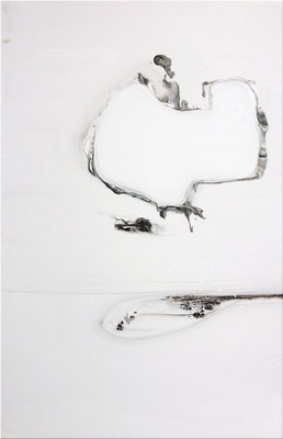 """No.39 行為と時間""  2012 water color  gouache on paper mounted on wood panel 91×60,6cm"