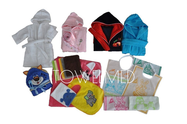 Custom kids bathrobes, hooded towels and bibs