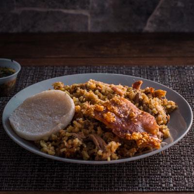 Lechona - gefülltes Spanferkel mit Kichererbsen & Reis