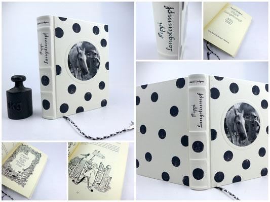Pippi Langstrumpf - Astrid Lindgren - Gesamtausgabe mit Illustrationen von Rolf Rettich - in Leder gebunden - Ledereinband - UNIKAT -
