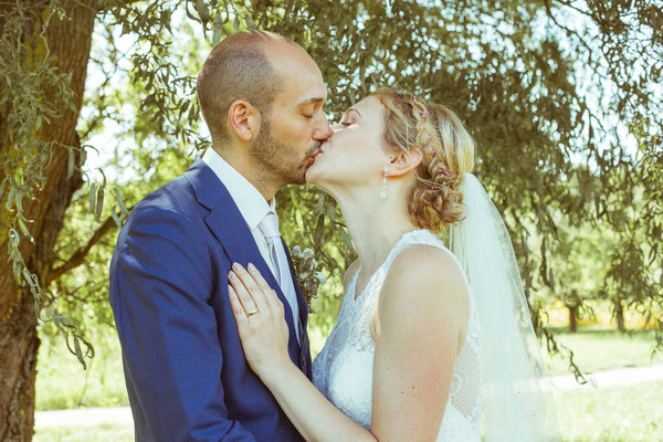 Hochzeitsbild von Julia und Clemens mit Kuss unter einer Weide in Malterdingen von Timo Erlenwein Fotografie