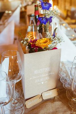 Hochzeitsbild von der Tischdeko von Julia und Clemens von Timo Erlenwein Fotografie