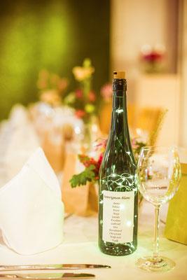 Hochzeitsfoto Anne und Tobi Tischdekoration in der Location fotografiert von Timo Erlenwein Fotografie