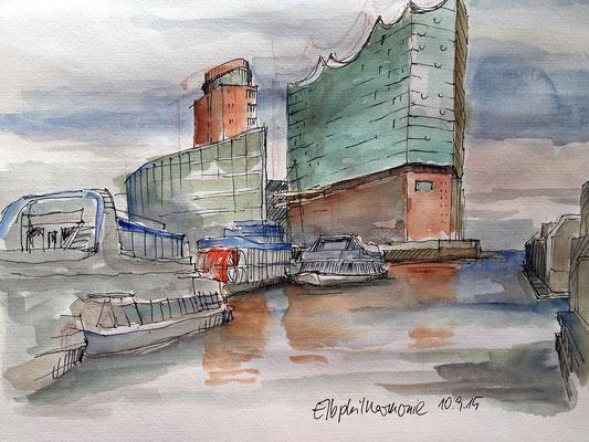 Elbphilharmonie von den Landungsbrücken aus
