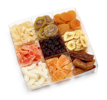 Art. 950056 Nell  Aprikosen, Ananas, Melonen, Cocos, Bananen, Papaya, Cranberries, Kiwi     A-PET: 21 x 21 x 4 cm  Verpackung: Karton 3 x 835 g