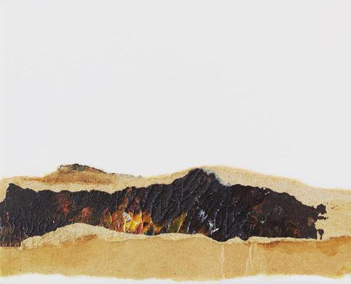 """Timanfaya Vulcano 4"" | Mixed Media on carton board | 8 x 9,8 cm | 2017"