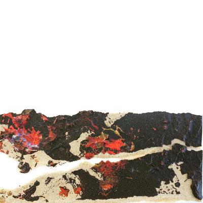 """Timanfaya Vulcano 1"" | Mixed Media on carton board | 8 x 8 cm | 2017"