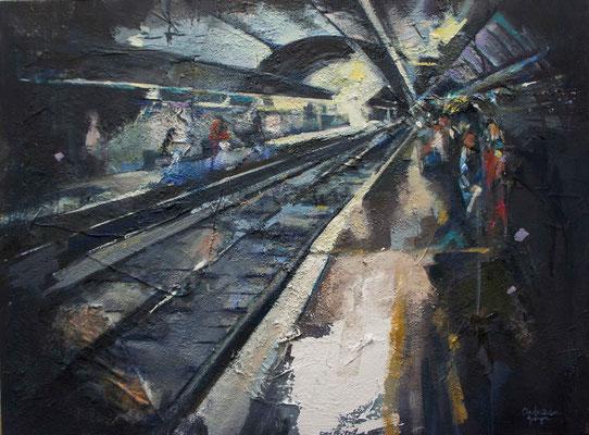 """Train station"" 60 x 80 cm   Mixed media on canvas   2011"