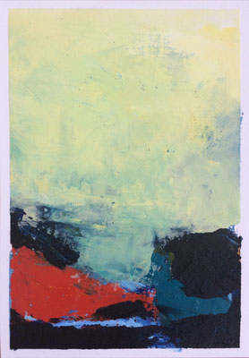 """Summer n.5"" Oil sticks and cold wax on oil paper 