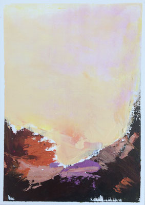 """Summer n.4"" Oil sticks and cold wax on oil paper 