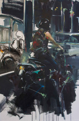"""""""The motorcycle driver"""" 65 x 50 cm   Oil on paper   2011"""
