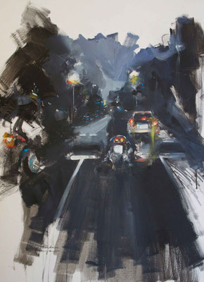 """Lights & Motors"" 65 x 50 cm |Oil on paper | 2011"
