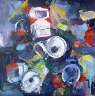 What is waste collection. Cans 1 | 30 x 30 cm | Oil on canvas | 2009