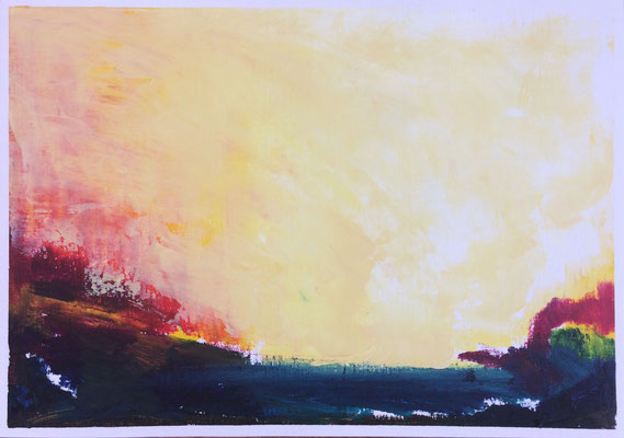 """Summer n.1"" Oil sticks and cold wax on oil paper 