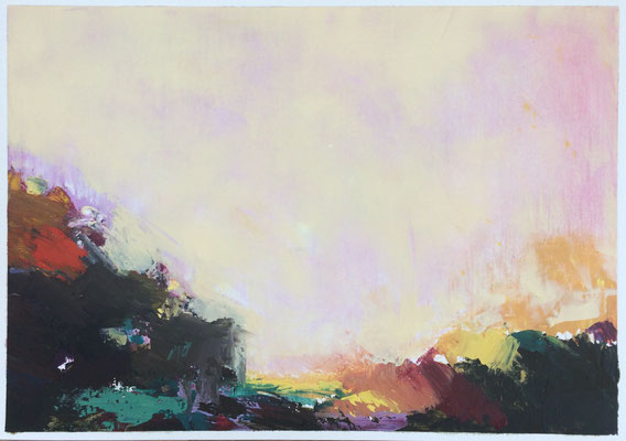 """Summer n.3"" Oil sticks and cold wax on oil paper 