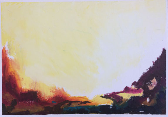 """Summer n.2"" Oil sticks and cold wax on oil paper 
