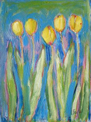 Gele tulpen  18 x 24 cm, maart 2016