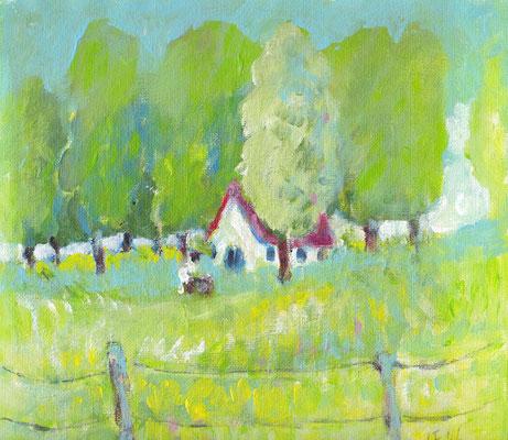 huisje in het groen, 22 x 19.5 cm, april 2016