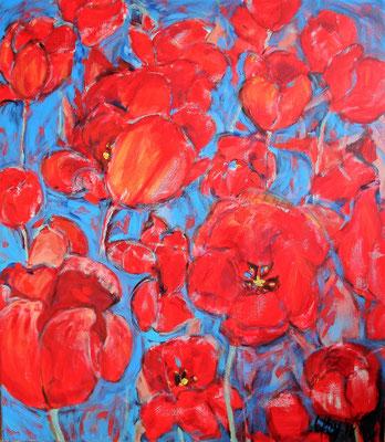 Tulpen in rood en blauw, 60x80 cm, maart 2018