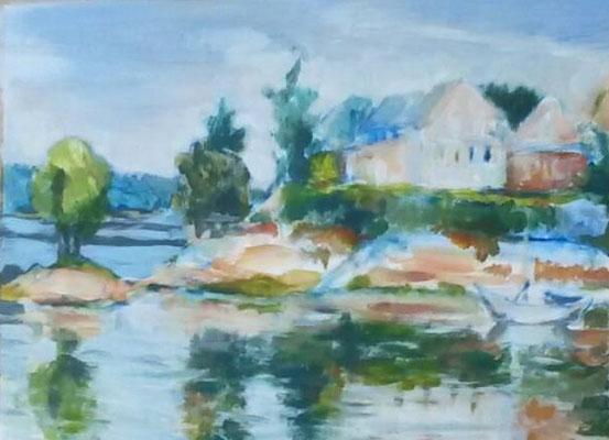 Lac Pannaciere, acryl op papier