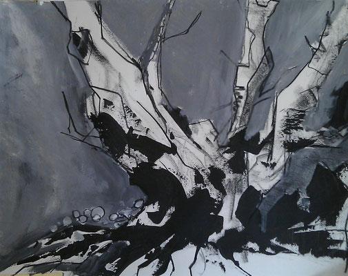 Bomen van Bibracte op Mont Beuvray, acryl op papier