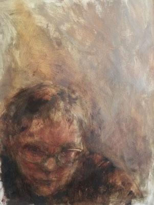 Zelfportret, olie op papier