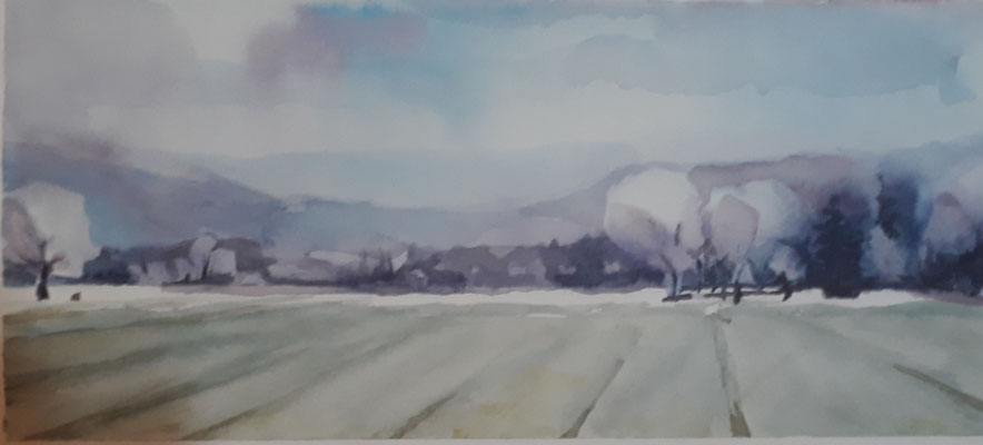 2018 veld bij Dietersheim, aquarel