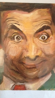 Mister Bean, olieverf op papier (geschonken)