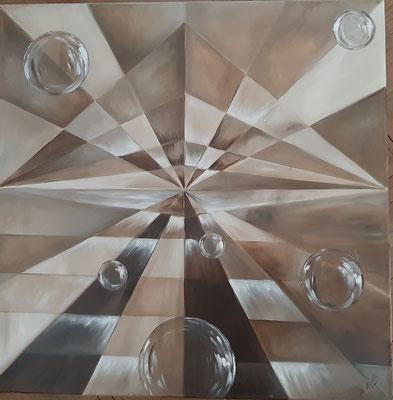 Envol de jeu de bulles /80 x 80  cm / Huile : 600 euros