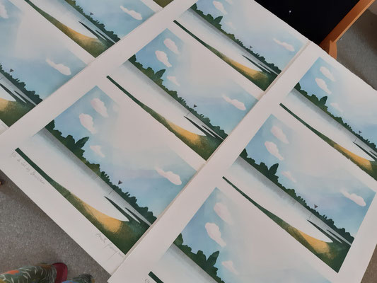 Annette Fienieg: template print 2020 The river Lek at Beusichem