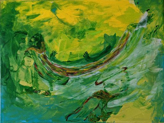 Fantasie in Grün | Acryl Spachtel auf Leinwand | 60x80cm