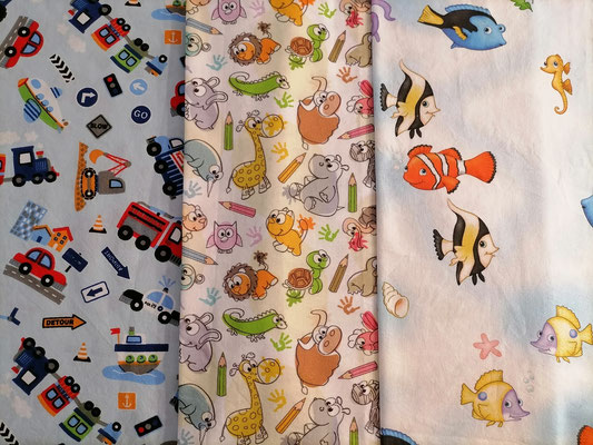 Motiv-Stoffe f. Gesichtsmasken (100% Baumwolle), Fahrzeuge, Tiere, Nemo-Fisch