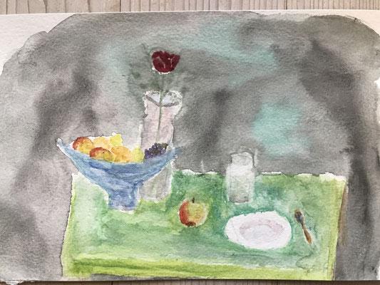 Stilleben grüner Tisch