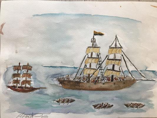 Windjammer auf Meer 3