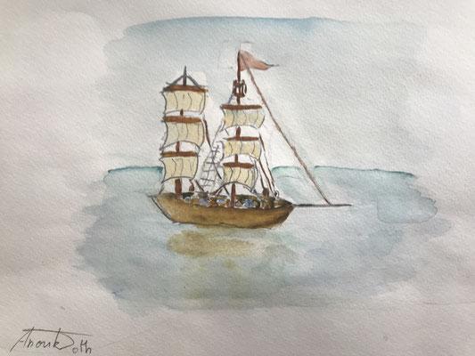 Windjammer auf Meer 4