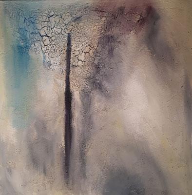 Aufbruch, 60 x 60, Acryl, Struktur und Tusche auf Leinwand