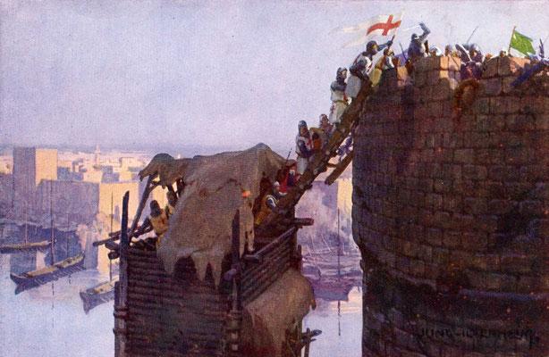 Sturm auf eine muslimische Festung im Zeitalter der Kreuzzüge, 12. Jahrhundert, Bild von Franz Jung-Ilsenheim, 1920er Jahre