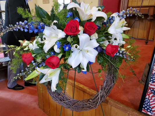 Wreath donated by Project Blue Star. Created by Carol Carlone (Carlone's Florist, Portsmouth)