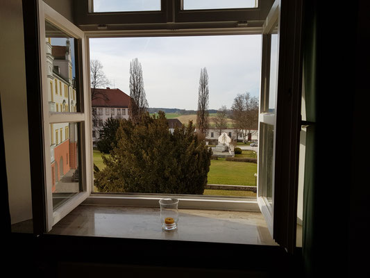 Ausblick vom Seminarraum Kloster Scheyern in die Hallertau