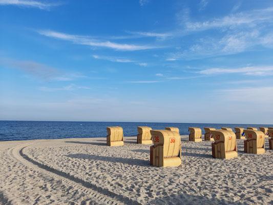 Strandkörbe Timmendorf Strand im Juli 2021