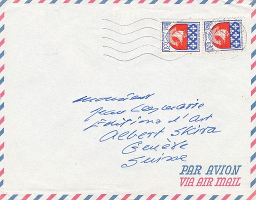 Samuel Beckett carte autographe signée enveloppe