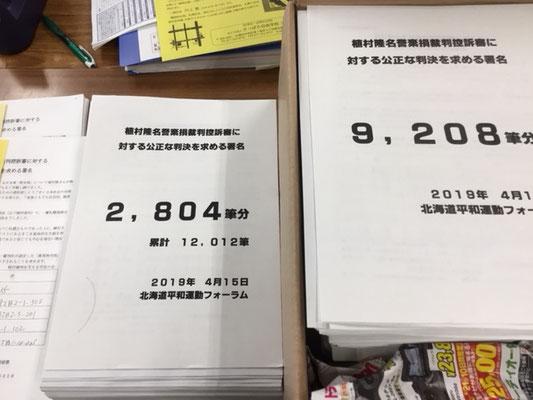 札幌高裁に公正な判決を求める署名には13,090筆が集まった