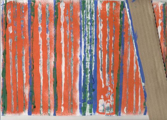 Reproducción del huipil: trazado de líneas verticales con sellos actividad 1