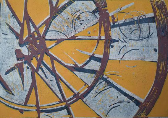 FahrradreifenOrange-Weiß-Violett, Holzschnitt, 42 x 29,7 cm